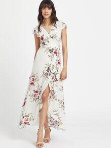 V Neckline Calico Print Slit Side Full Length Dress