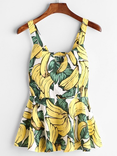 Banana Print Peplum Top