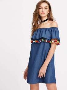 Pom Pom Trim Flounce Bardot Neck Chambray Dress
