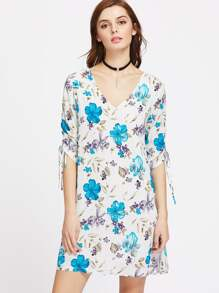 V-Cut Elbow Sleeve Floral Tie Cuff Dress