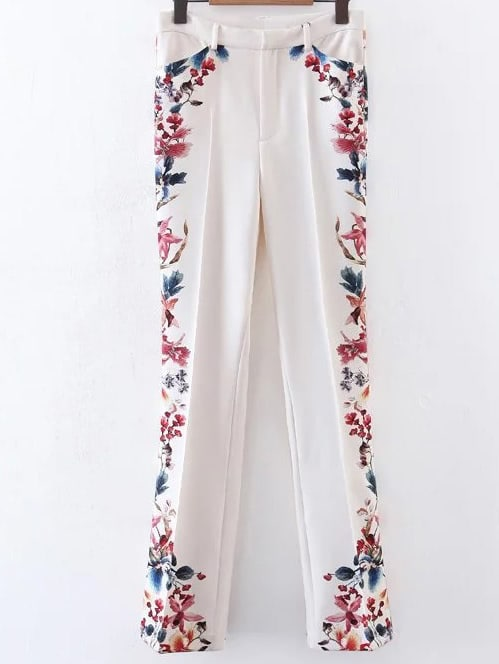 Фото Floral Print Bell-Bottoms Full Length Pants. Купить с доставкой