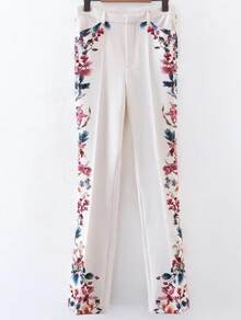 Floral Print Bell-Bottoms Full Length Pants