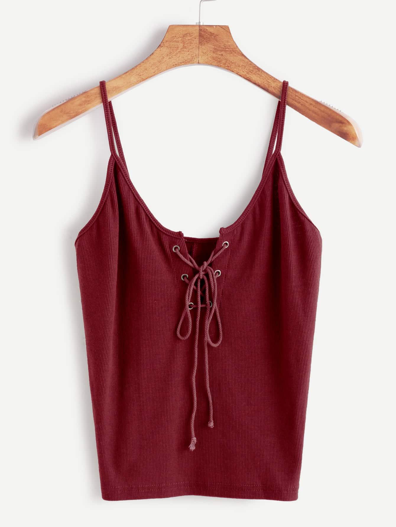 Фото Eyelet Lace-Up Front Ribbed Knit Cami Top. Купить с доставкой