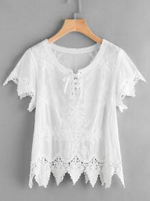 Lace Up Front Crochet Trim Embroidered Top
