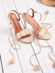 Pom Pom Détails Sandales lacées à talons