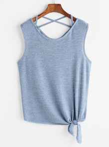 Crisscross Back Knotted Hem Tank Top