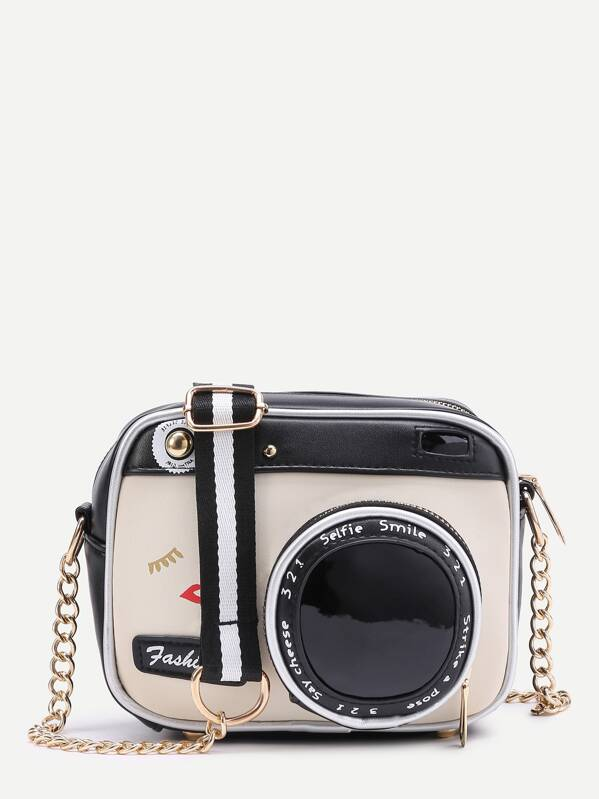 Camera Shaped Crossbody Bag With Buckle, null