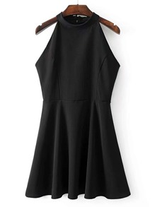 Halterneck Tie Back Sleeveless A Line Dress