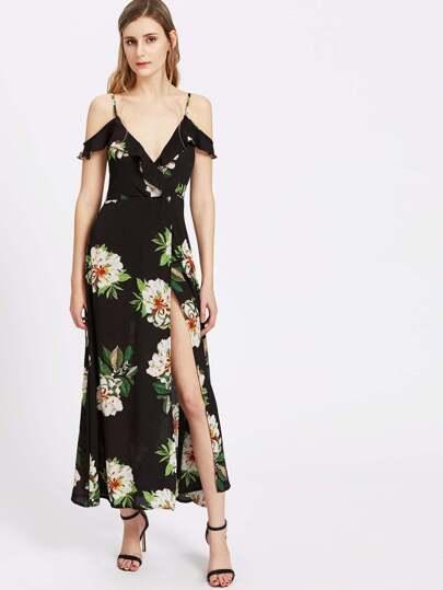 Vestido cruzado con hombros al descubierto con estampado de flor y espalda con cordón