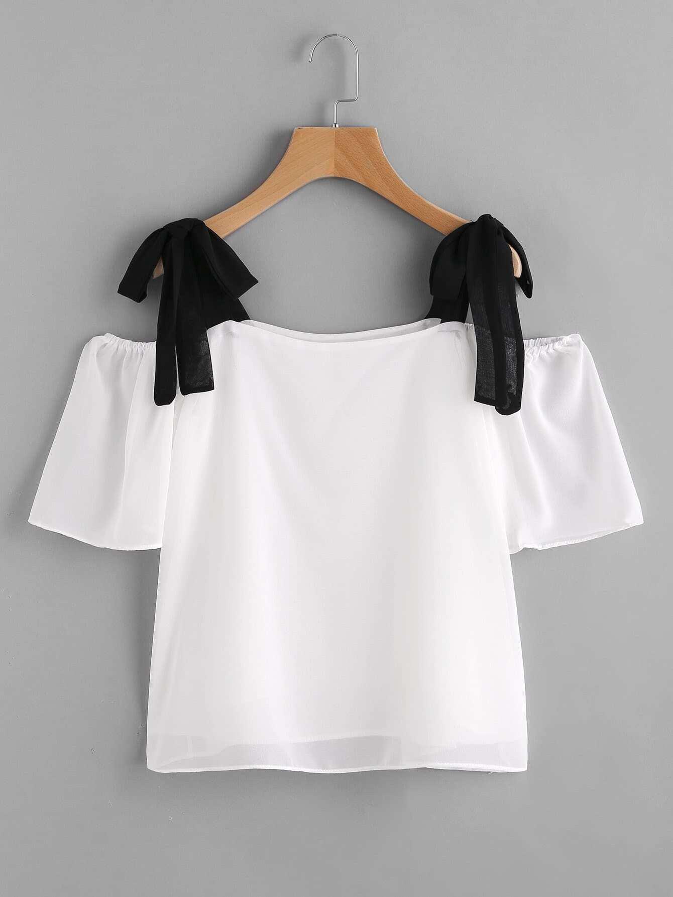 Фото Contrast Tie Shoulder Chiffon Blouse. Купить с доставкой