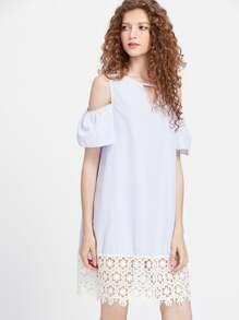 Open Shoulder Pinstripe Cut Out Contrast Crochet Lace Dress