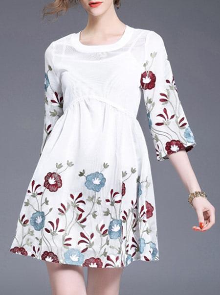 Фото Flowers Embroidered High-waisted Dress. Купить с доставкой