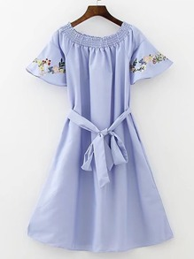 Boat Neckline Bell Sleeve A Line Dress With Self Tie