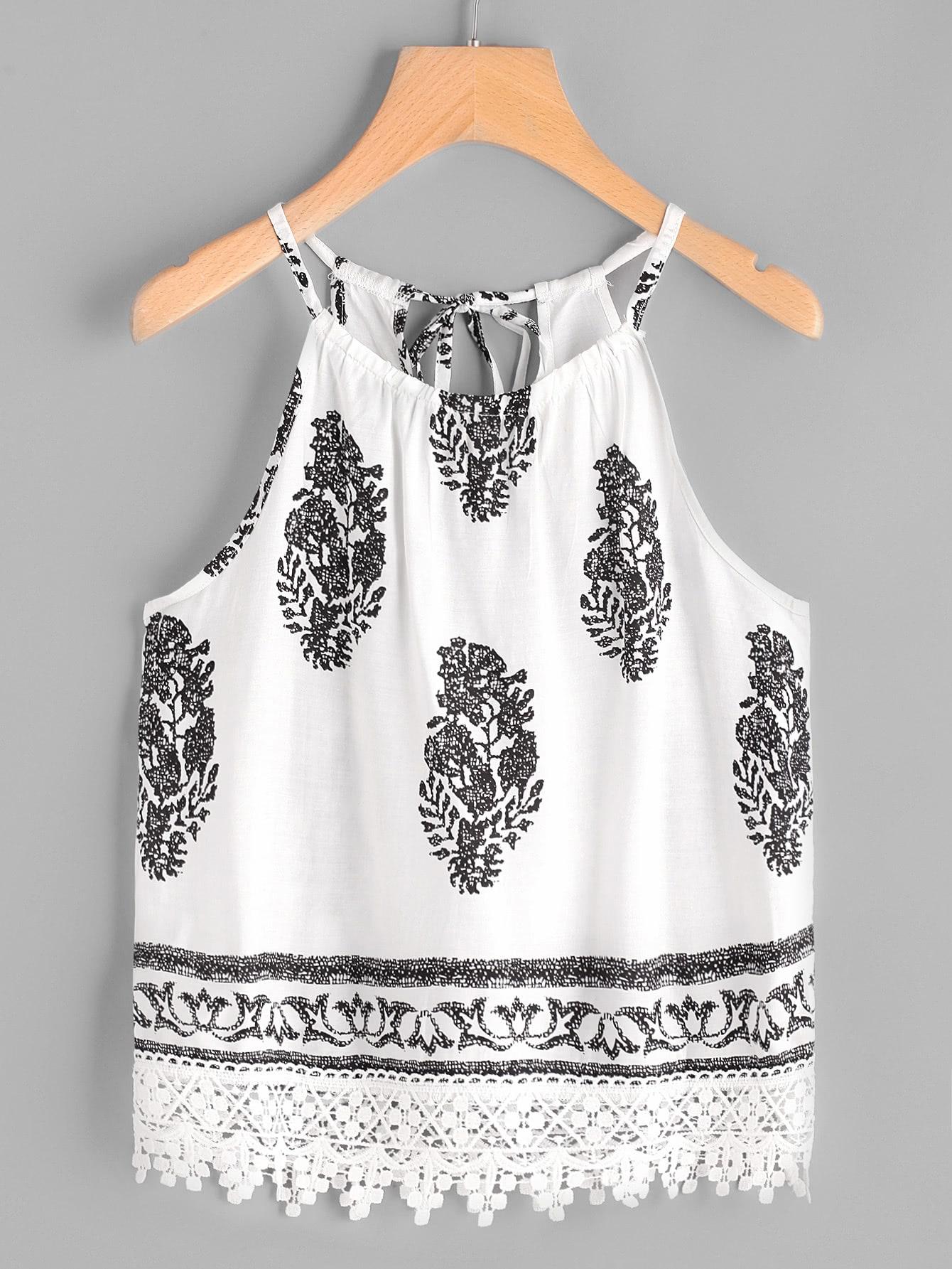 Фото Graphic Print Self Tie Back Lace Hem Cami Top. Купить с доставкой