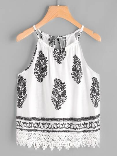 Graphic Print Self Tie Back Lace Hem Cami Top
