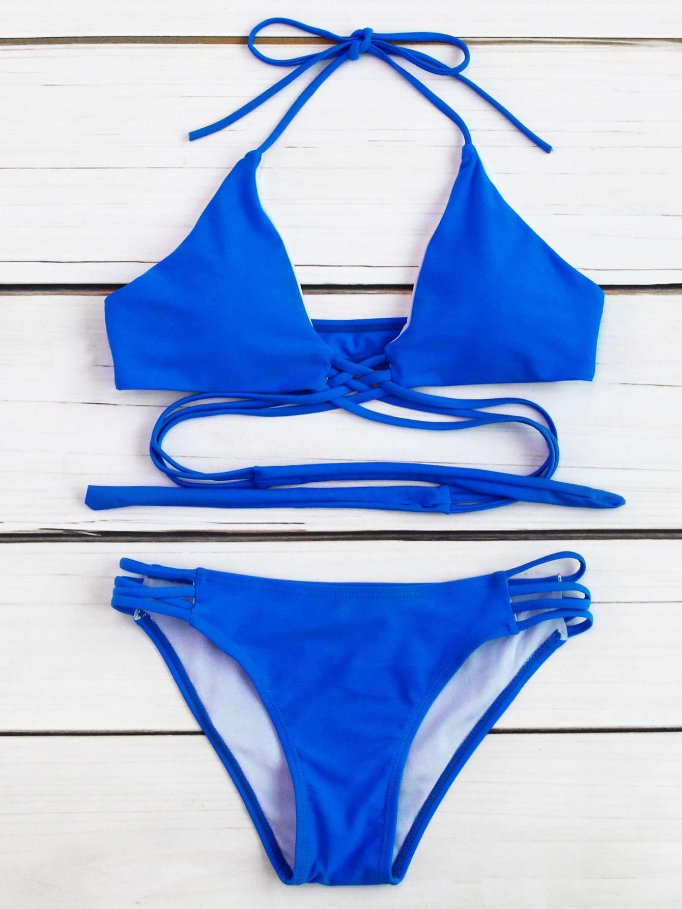 Фото Criss Cross Ladder Cutout Bikini Set. Купить с доставкой