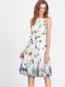 V Back Floral Print Self Tie Box Pleated Dress