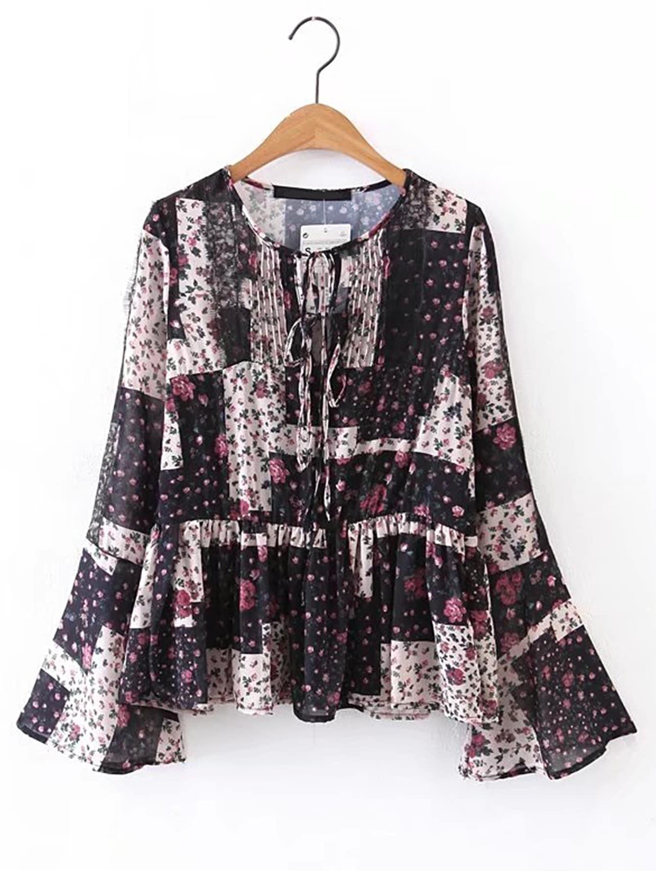 Bell Sleeve Ruffle Hem Lace Up Blouse blouse170427208