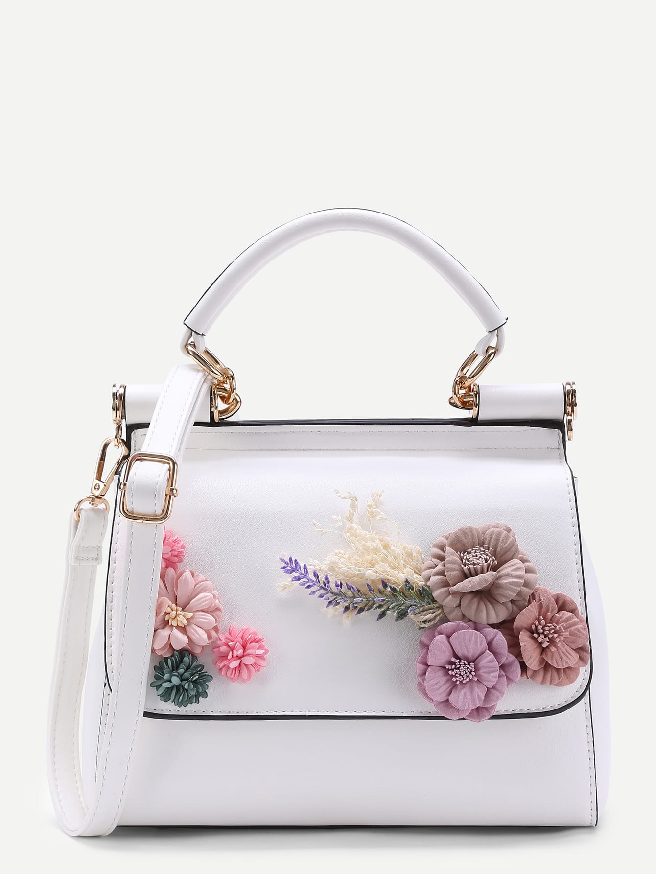 Applique Flower PU Shoulder Bag -SheIn(Sheinside)