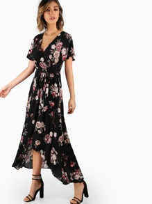 Short Sleeve Wrap Maxi Print Dress BLACK