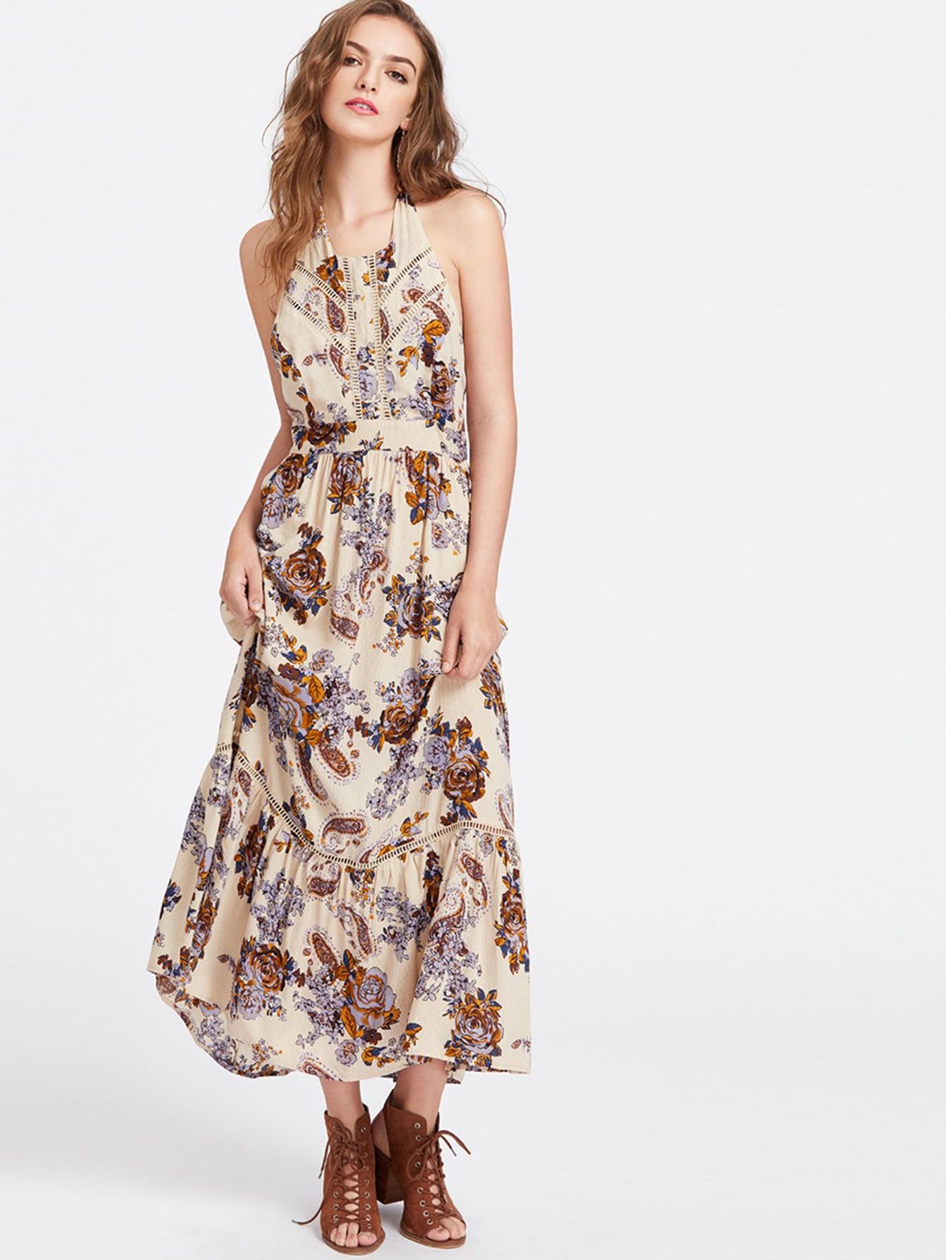 Фото Flower And Paisley Print Lace Insert Halter Neck Dress. Купить с доставкой