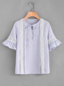 Tie Neck Contrast Lace Frill Trim Top