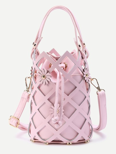 Flower Embellished Hollow Out Drawstring Bucket Bag