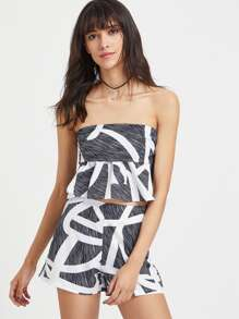 Geometric Print Bandeau Top With Shorts