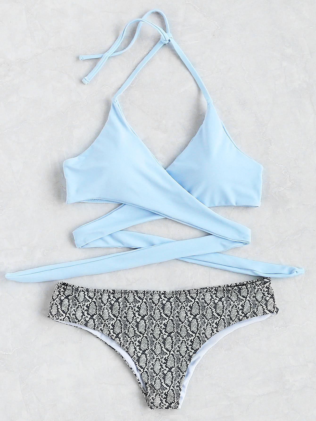 Snake Print Halter Wrap Knotted Back Bikini Set halter patterned wrap bikini