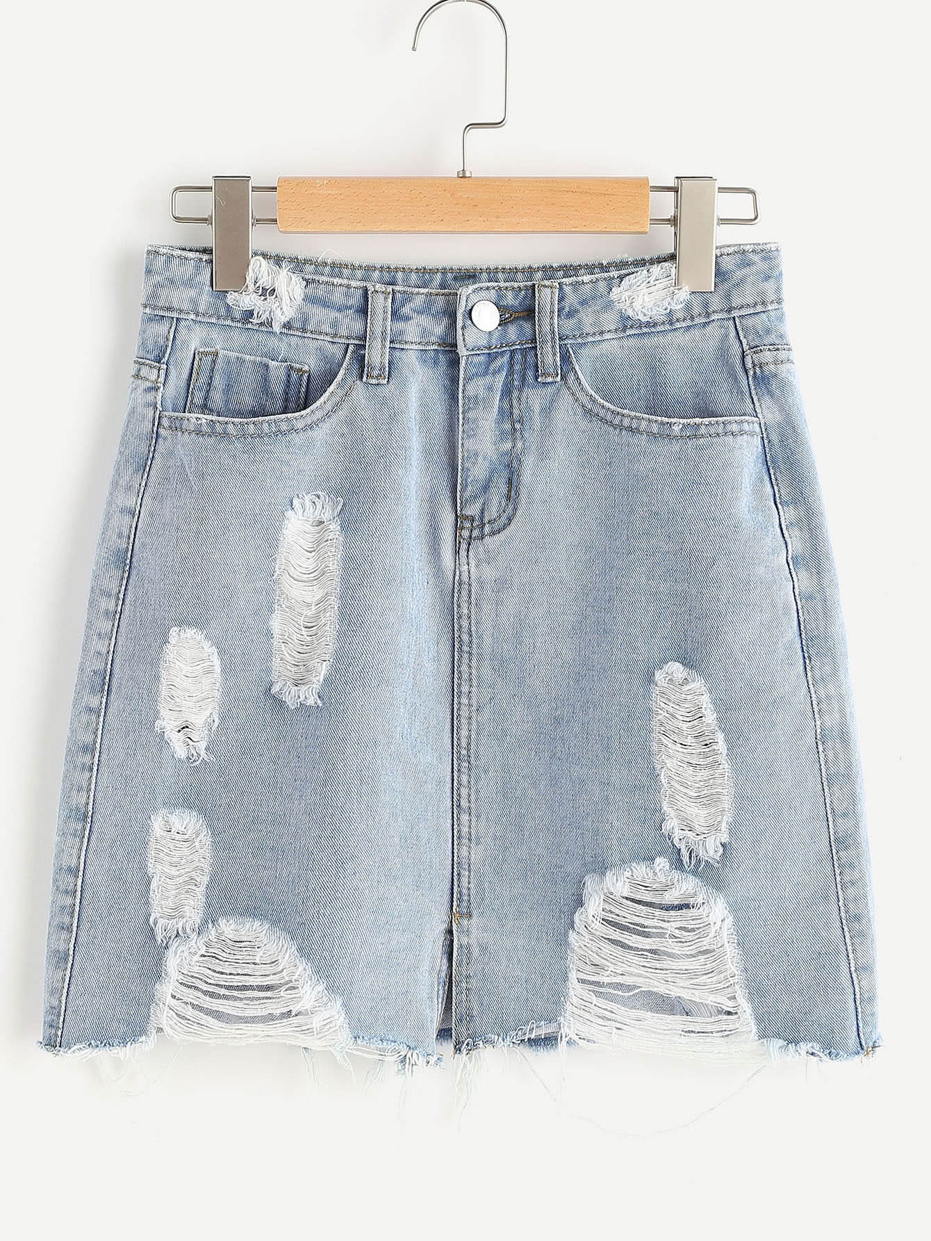 Фото Bleach Wash Vented Front Distressed Denim Skirt. Купить с доставкой