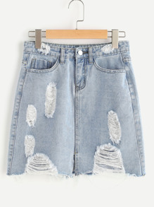 Bleach Wash Vented Front Distressed Denim Skirt