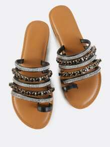 Bedazzled Slip On Sandals BLACK