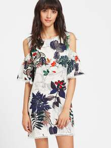 Tropical Print Cold Shoulder Lace Trim Dress