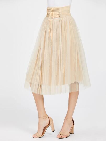 High Waist Lace Up Detail Mesh Skirt