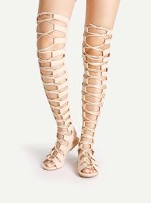 Sandales gladiateurs découpé trapéziforme avec le zip