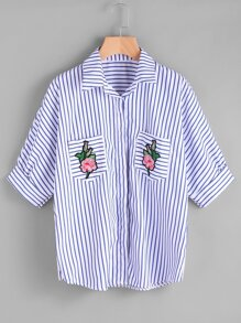 Pinstripe Rose Embroidered Patch Shirt
