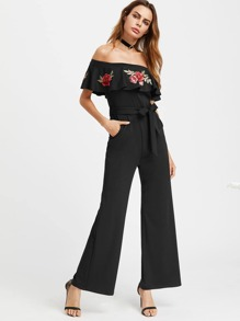 Embroidered Flower Patch Flounce Off Shoulder Belt Jumpsuit