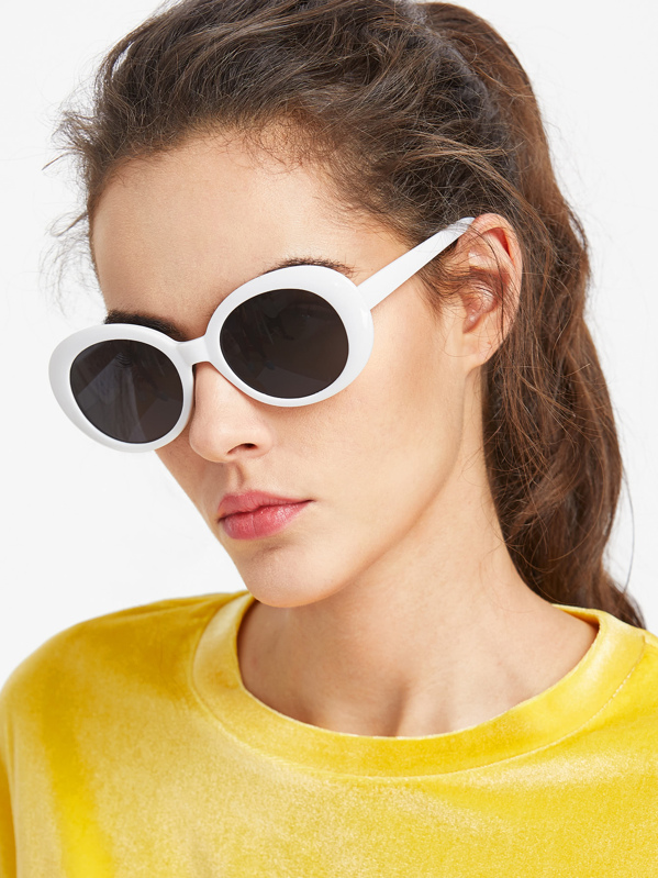 Contrast Frame Flat Lens Cat Eye Sunglasses, null