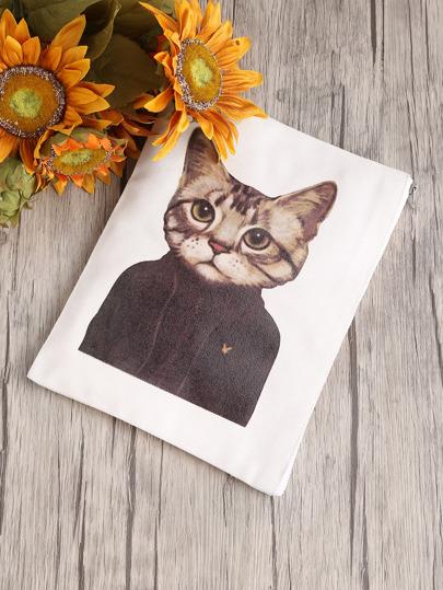 Cat Print Canvas Clutch Bag