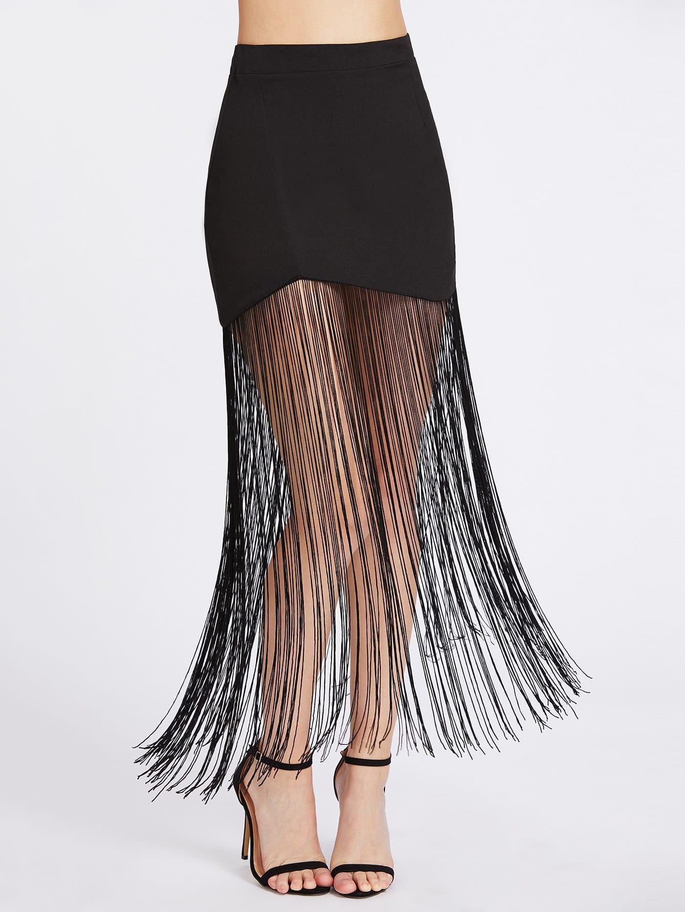 Фото Fringe Hem Zipper Back Skirt. Купить с доставкой