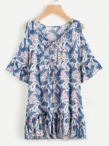 Open Shoulder Leaves Print Tie Front Frill Hem Top