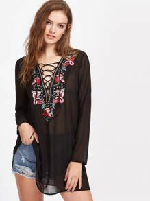 Lace Up Embroidered Plunge Neck Cover Up Dress