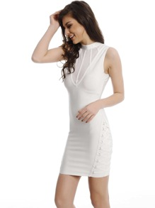 Blanco Contraste Malla Criss Cross Side Bodycon Vestido