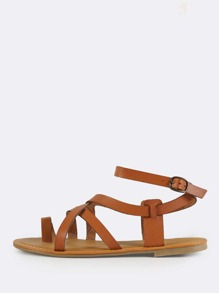 Multi Strap Gladiator Ankle Sandals TAN