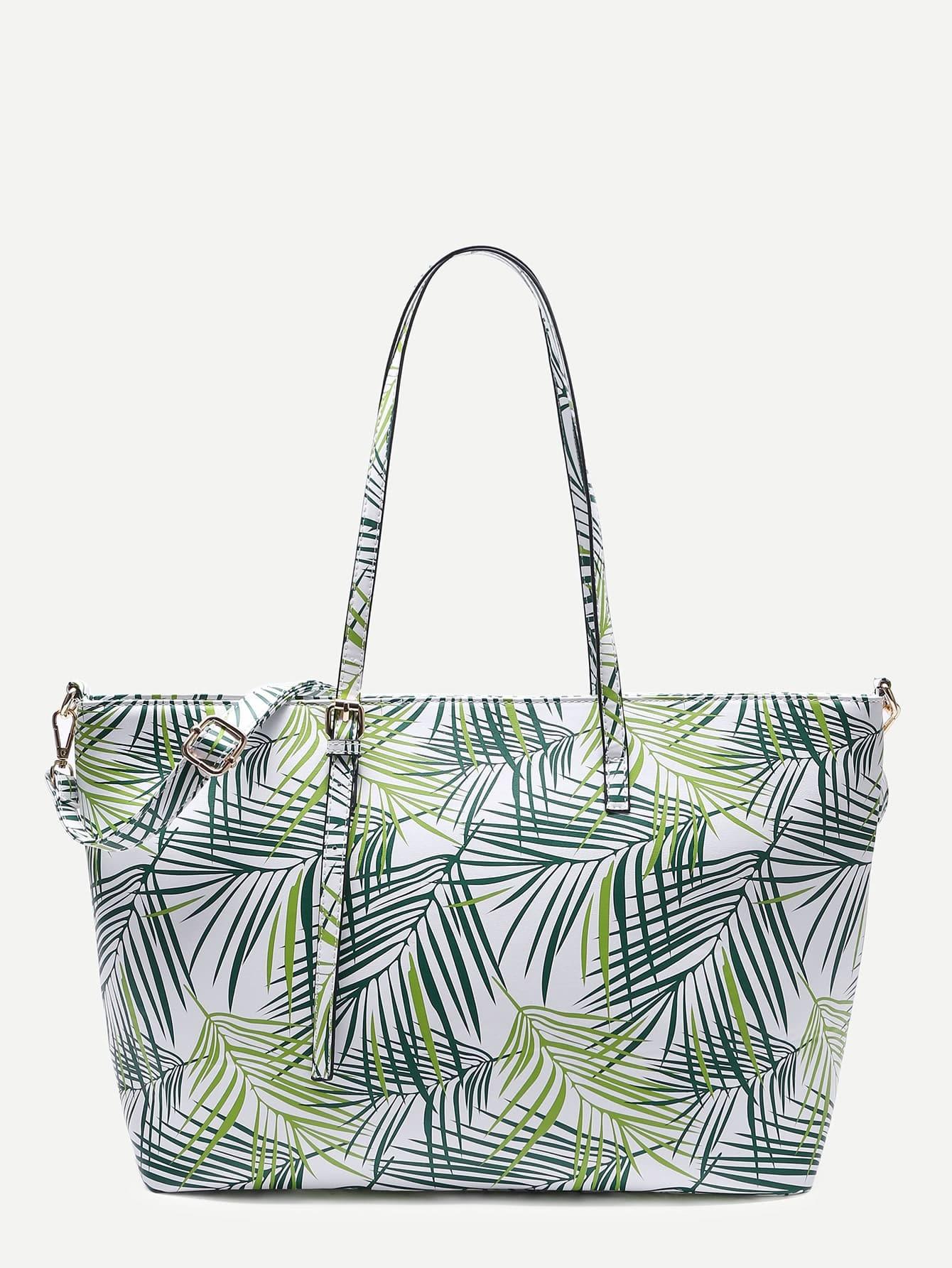 Фото Leaf Print PU Shoulder Bag With Adjustable Strap. Купить с доставкой