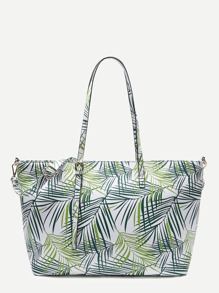 Leaf Print PU Shoulder Bag With Adjustable Strap