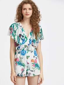 V-Cut Ruffle Cape Sleeve Floral Playsuit