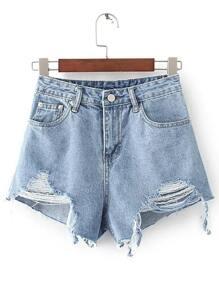 Shorts en denim con detalle de rotura
