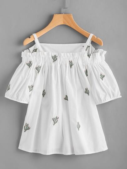 Open Shoulder Cactus Embroidered Top