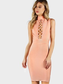 Plunging Cold Shoulder Bandage Bodycon Dress PEACH